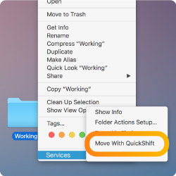 Move files to QuickShift using Mac Services Menu